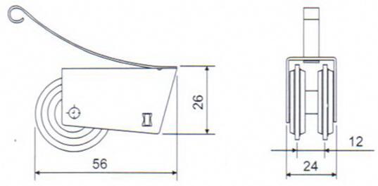 JL-06 Heavy-duty Double Wheels Cabinet Roller- small size